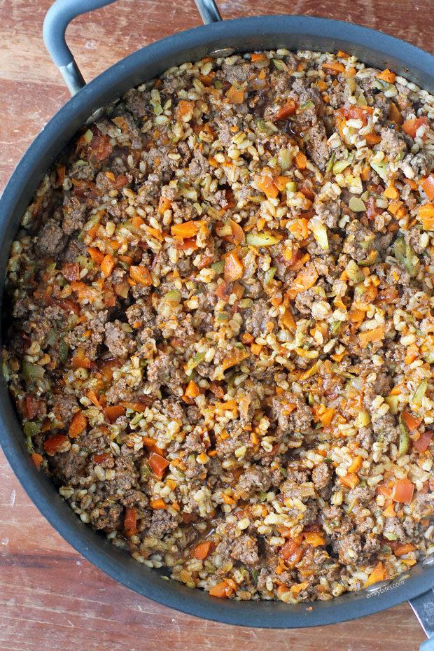 Barley Beef Skillet overhead in pan