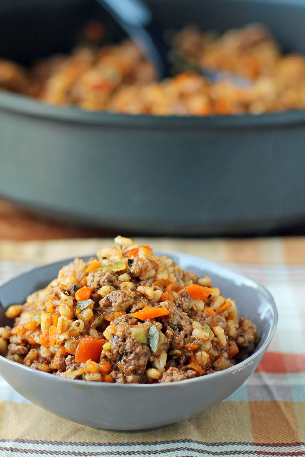 Barley Beef Skillet in a bowl