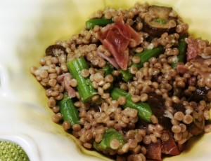 Couscous with Prosciutto, Mushrooms and Asparagus