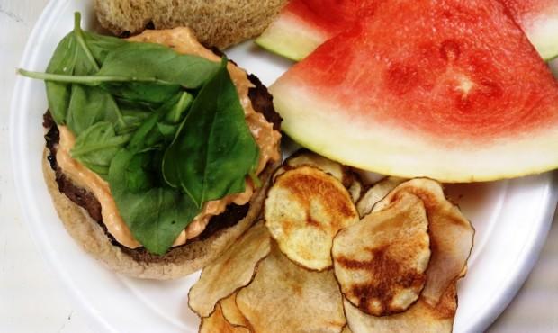 Basil Burgers with Sun-Dried Tomato Mayo