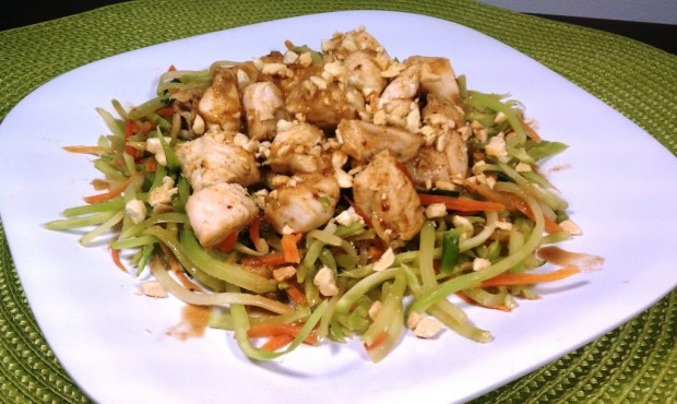 Asian Chicken and Vegetables with Spicy Peanut Sauce