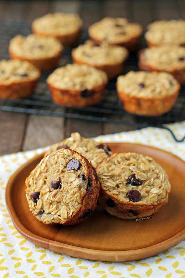 Banana Chocolate Chip Baked Oatmeal Singles on a plate