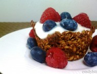 Baked Granola Cups with Yogurt and Berries
