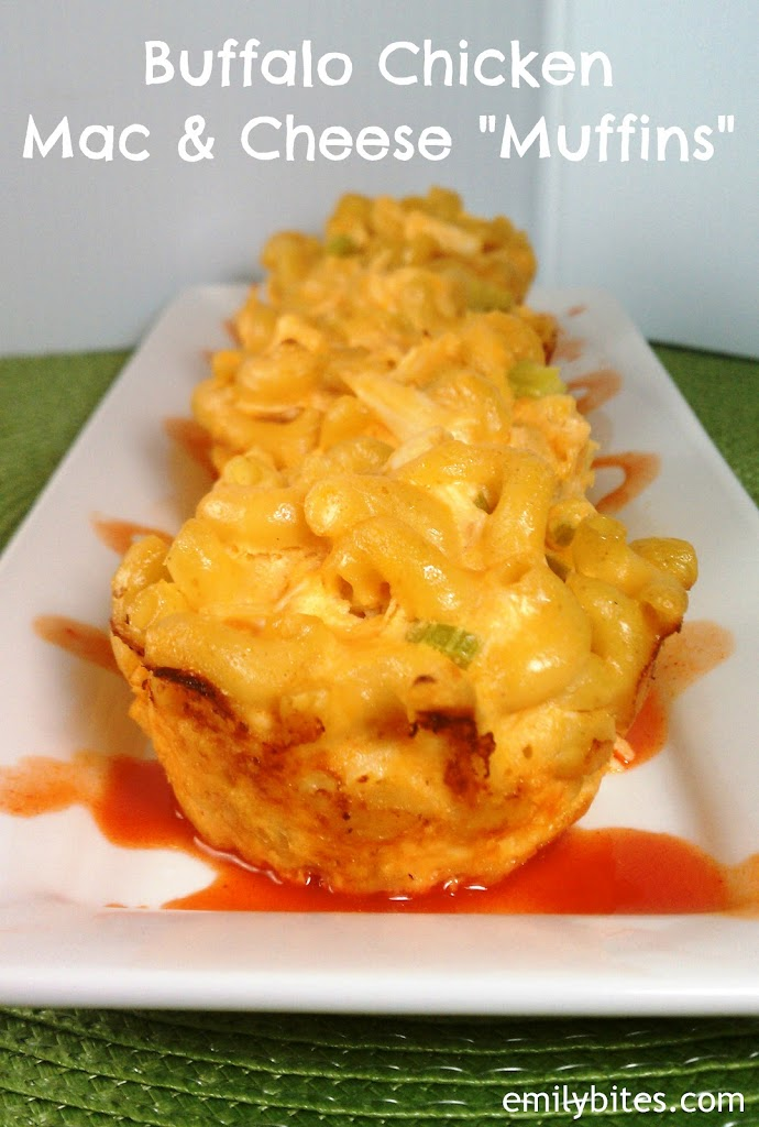 "Buffalo Chicken Mac & Cheese ""Muffins"" - Emily Bites"