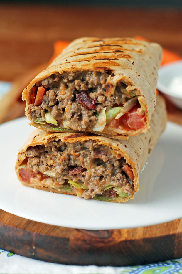 Bacon Cheeseburger Wraps stacked