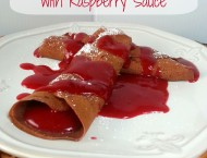 Chocolate Crepes with Raspberry Sauce