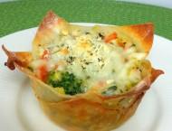 White Vegetable Lasagna Wonton Cups