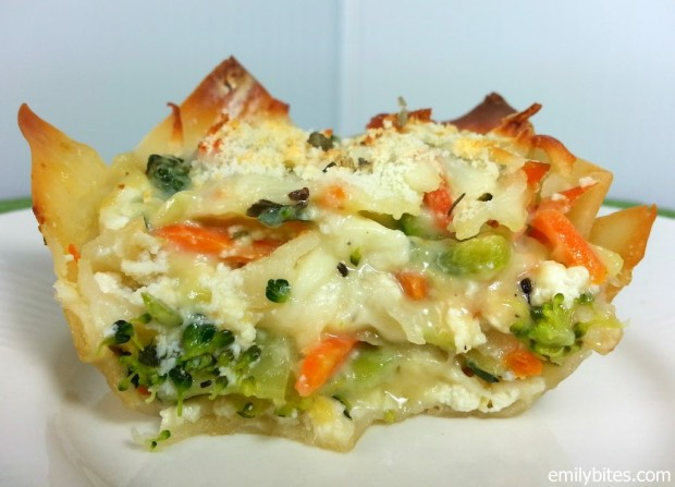 White Vegetable Lasagna Wonton Cups