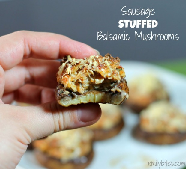 Sausage Stuffed Balsamic Mushrooms