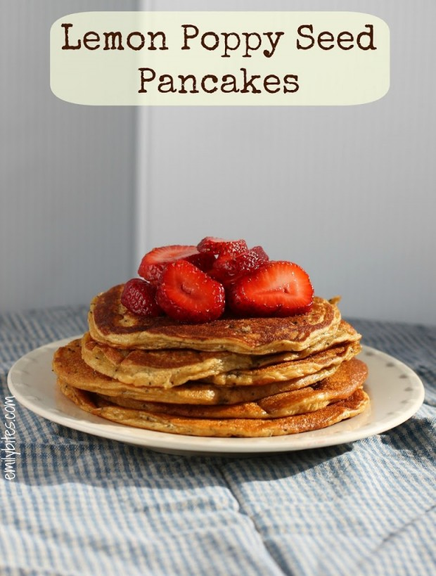 pancakes strawberry salsa balsamic maple lemon poppy seed pancakes ...