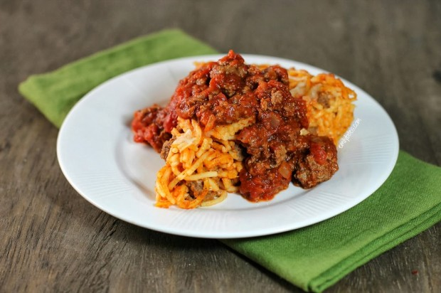 Spaghetti Pie with Meat Sauce