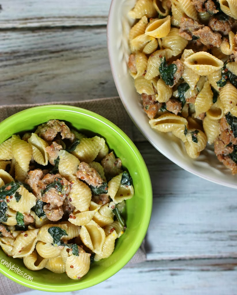 Shell Pasta With Sausage And Greens Recipe — Dishmaps