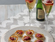 Roasted Strawberry, Brie and Chocolate Mini Tarts