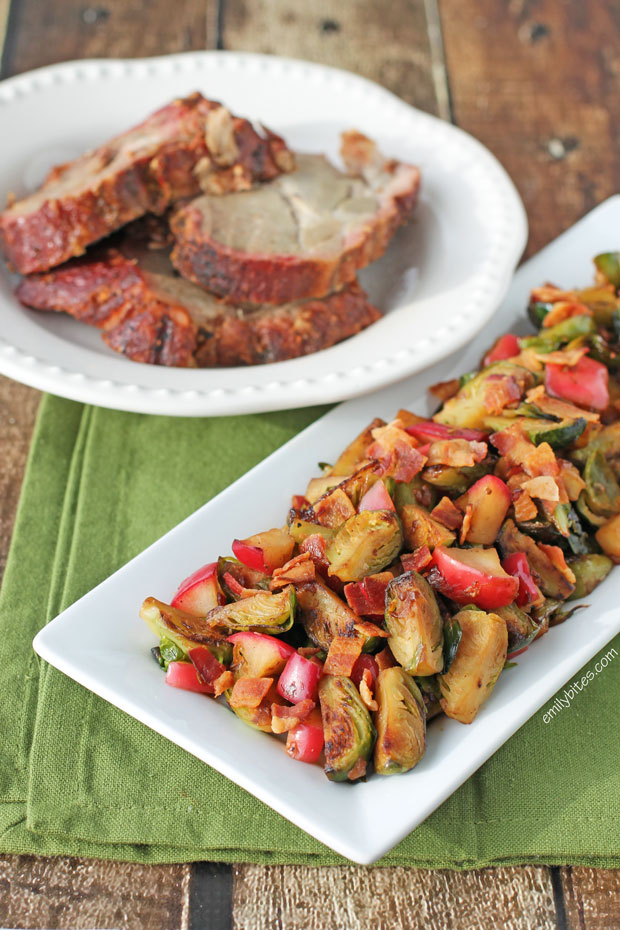 Sauteed Brussels Sprouts and Apples - Emily Bites