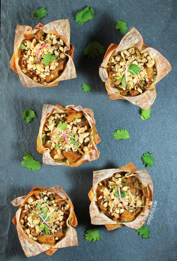 Thai Peanut Chicken Wonton Cupcakes