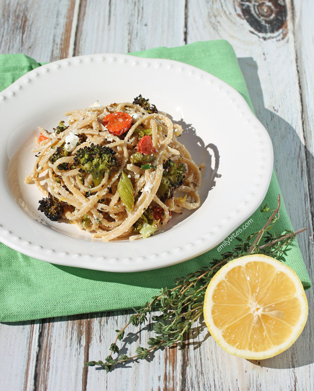 Linguine with Roasted Vegetables and Goat Cheese - Emily Bites