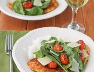Chicken Milanese with Spinach and Burst Tomatoes
