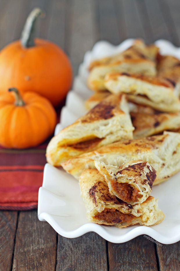 Pumpkin Pie Pastry Pockets - Emily Bites