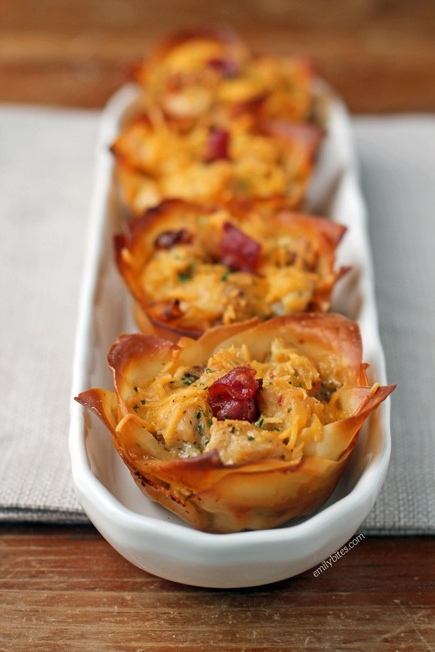 Chicken Bacon Ranch Wonton Cupcakes