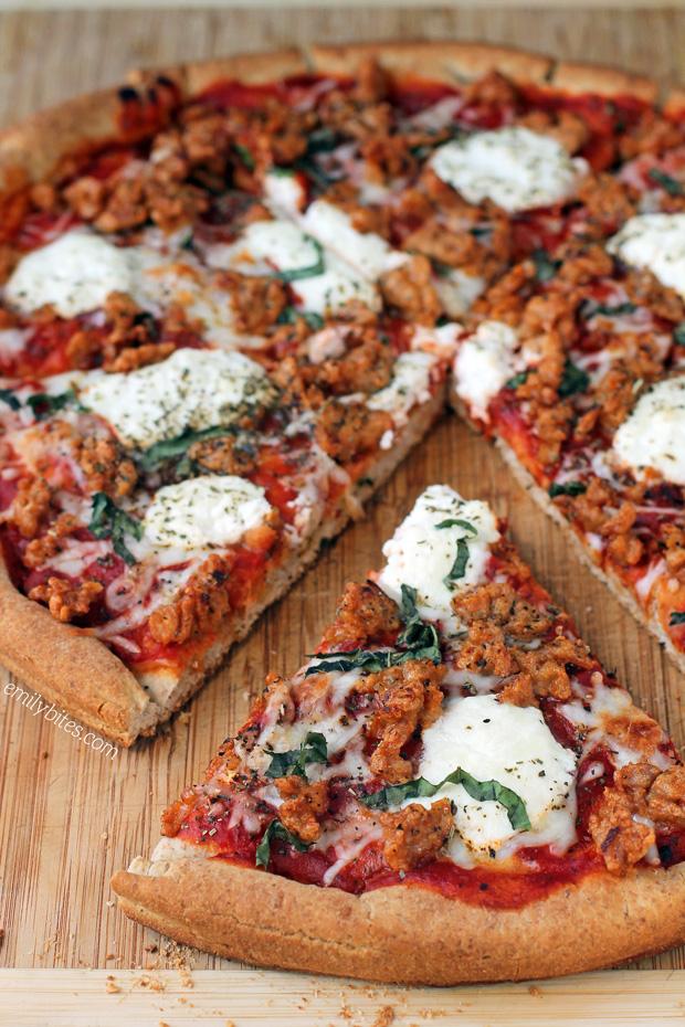 Sausage and Ricotta Pizza - Emily Bites