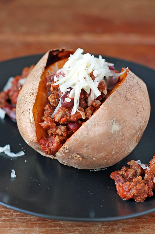 Chili Cheese Stuffed Sweet Potatoes