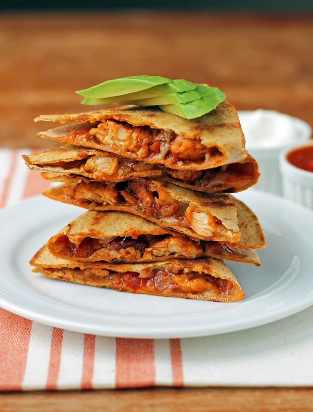Easy Chicken Quesadillas Emily Bites