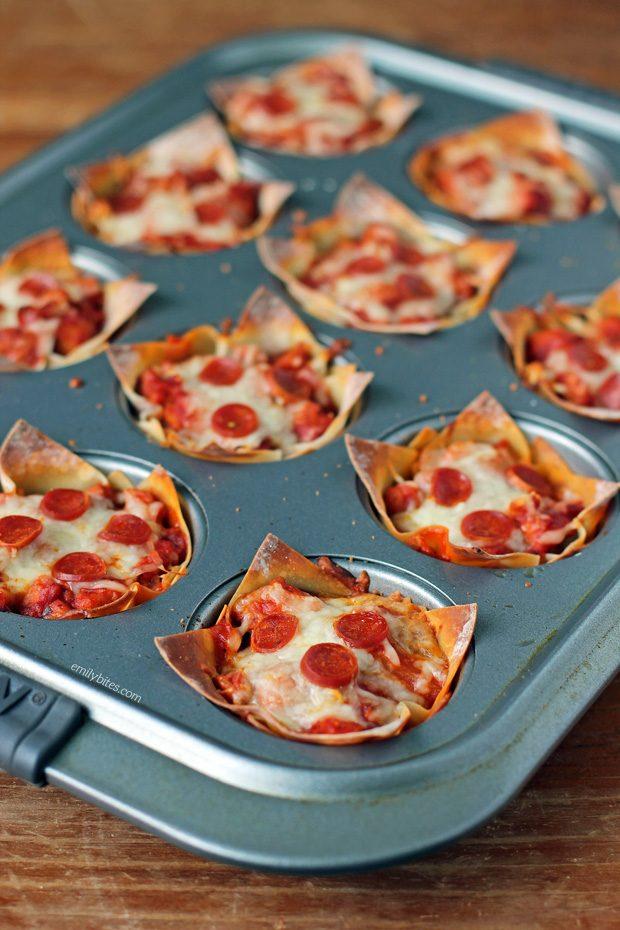 Pizza Wonton Cups