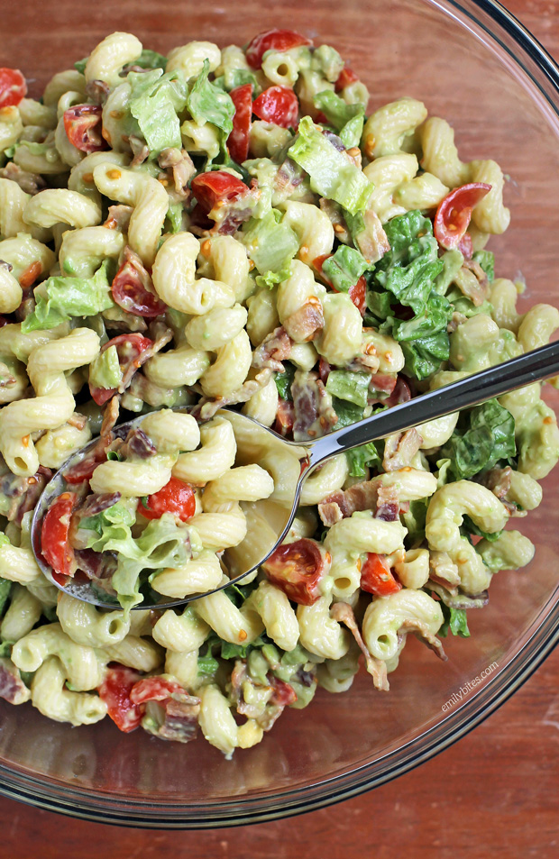 Avocado Blt Pasta Salad Emily Bites