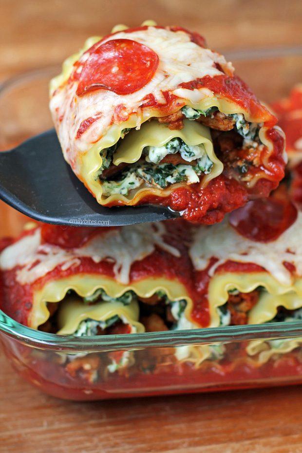 Pizza Lasagna Roll-Ups