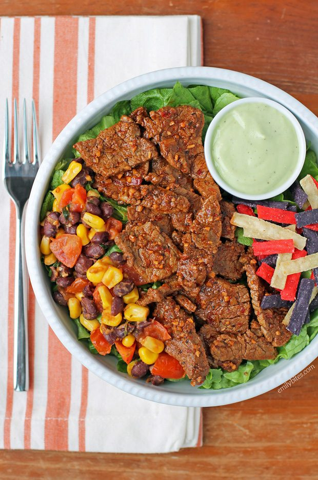 Southwest Steak Salad with Avocado Lime Dressing
