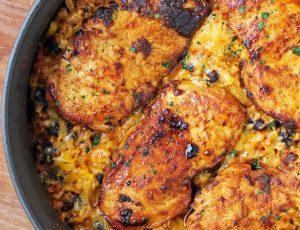 Mexican Chicken Cauliflower Rice Skillet