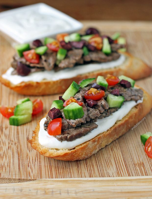 Open-Faced Greek Steak Sandwiches
