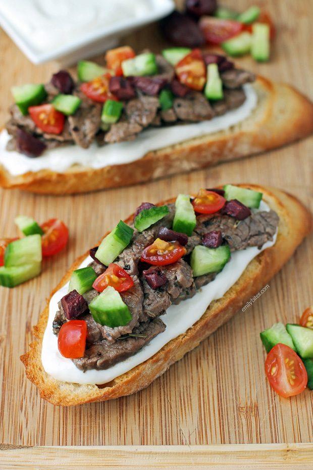 Open-Faced Greek Steak Sandwiches