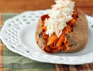 Buffalo Chicken Stuffed Sweet Potatoes