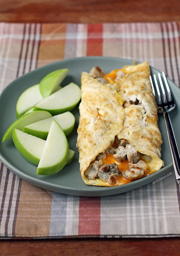 Turkey Sausage and Cheddar Omelet