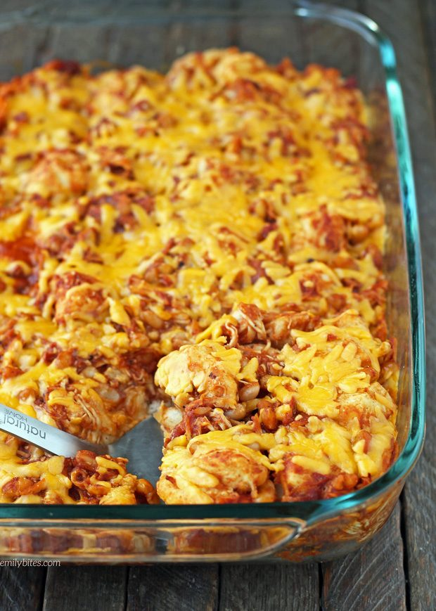 Bubble Up BBQ Chicken and Beans Bake
