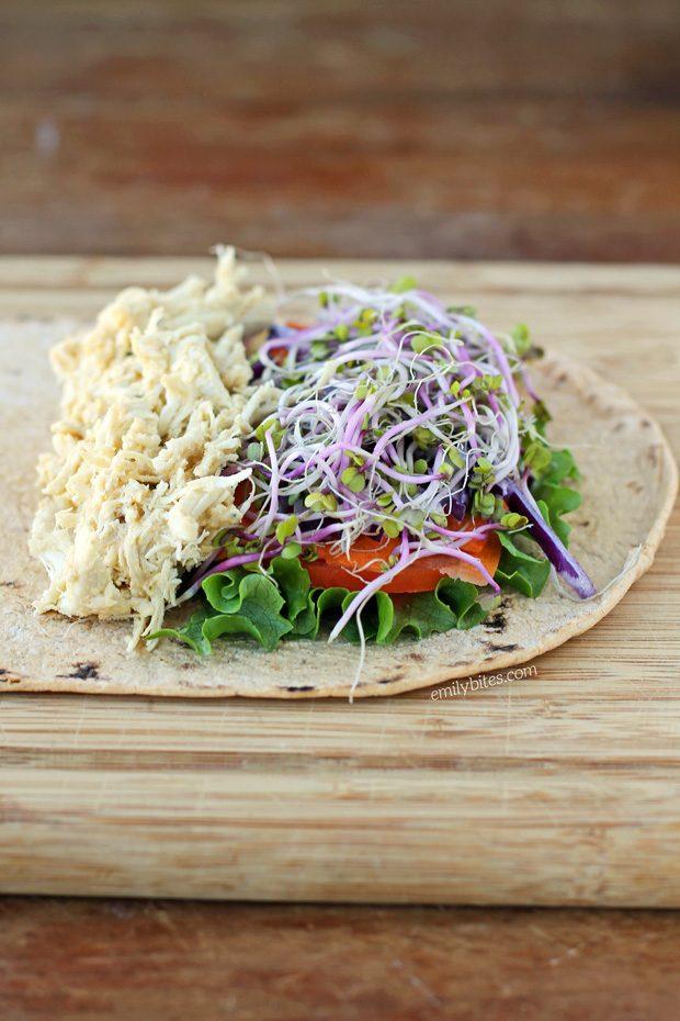 Chicken Hummus Veggie Wrap