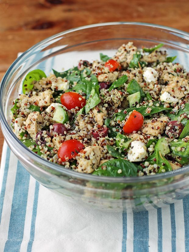 Greek Chicken Quinoa Salad Emily Bites