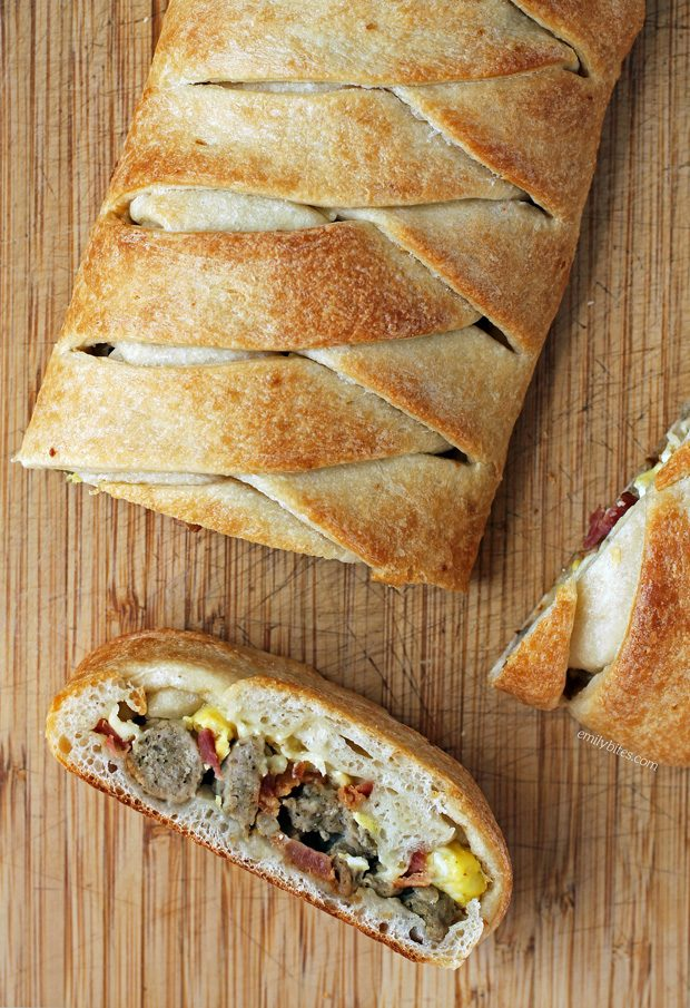 Bacon Sausage Egg and Cheese Braid