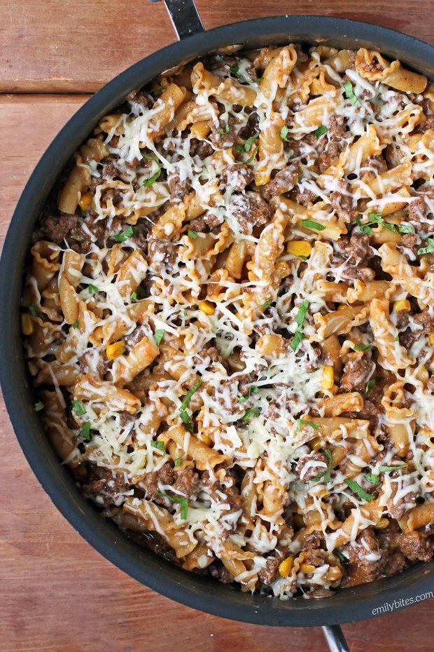Beef Enchilada Pasta Skillet
