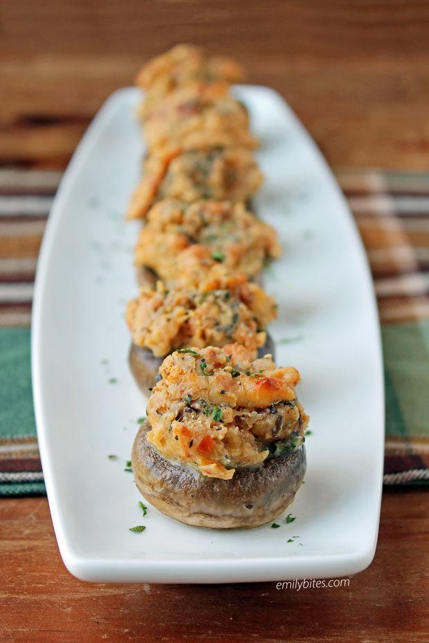 Turkey Sausage Stuffed Mushrooms