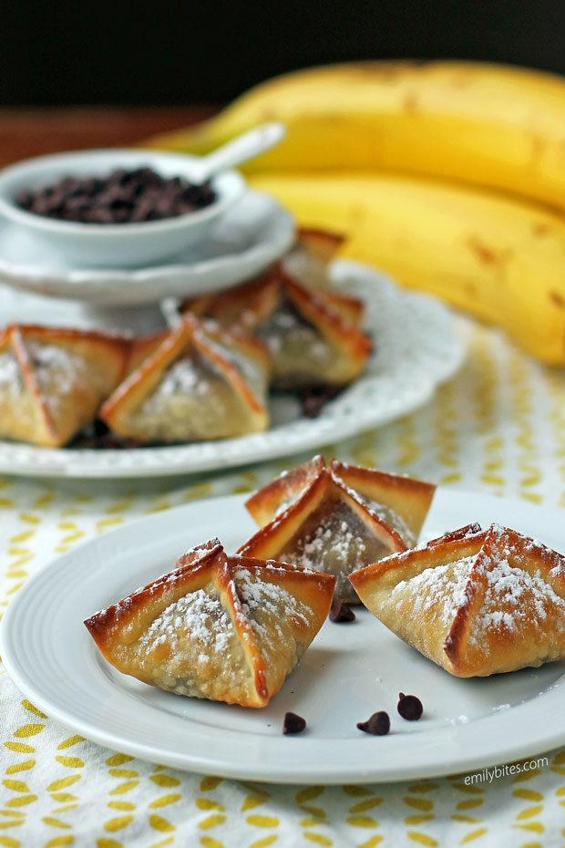 Banana Chocolate Wonton Bites on a plate