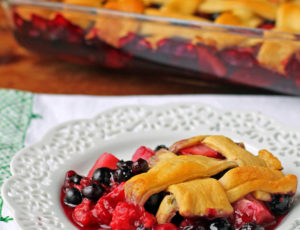 A serving of Braided Crescent Berry Dessert Bake