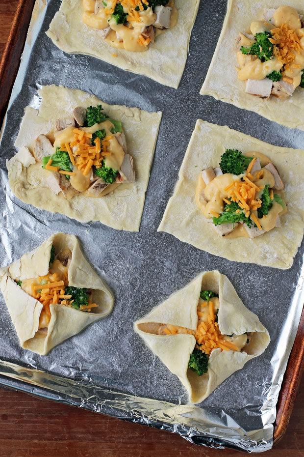 Cheesy Chicken and Broccoli Pastry Bundles before cooking