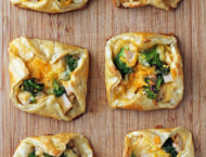 Cheesy Chicken and Broccoli Pastry Bundles overhead view