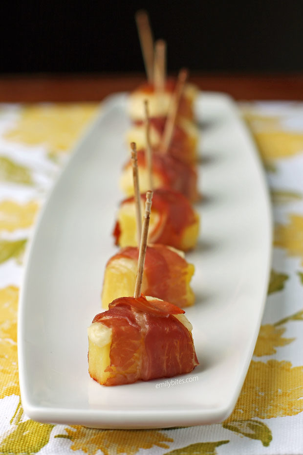 Cheesy Pineapple Prosciutto Bites in a row