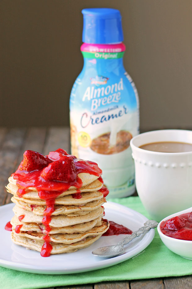 Strawberry Almond Cream Pancakes with coffee