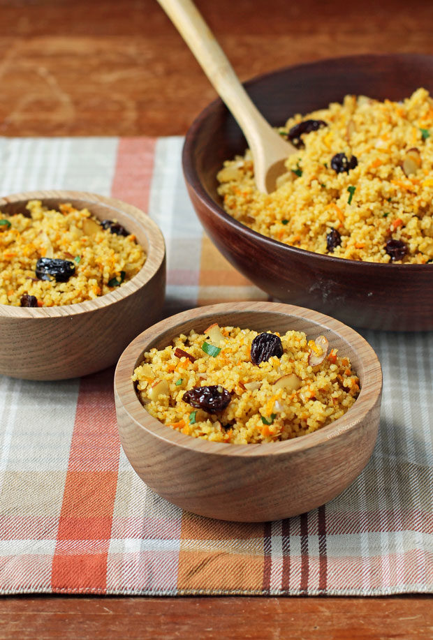 Couscous with Raisins and Almonds in bowls