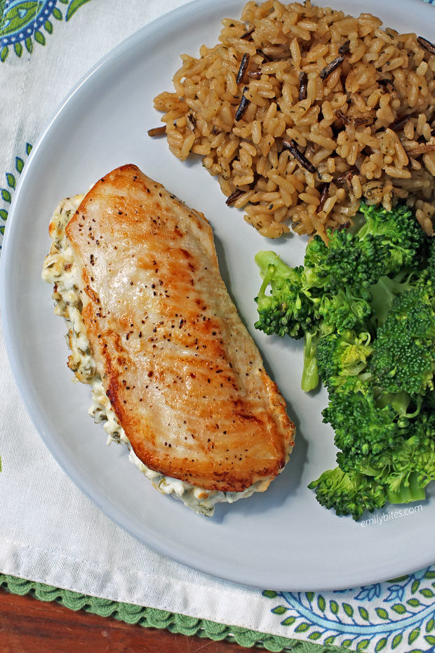 Cream Cheese and Herb Stuffed Chicken with rice and broccoli