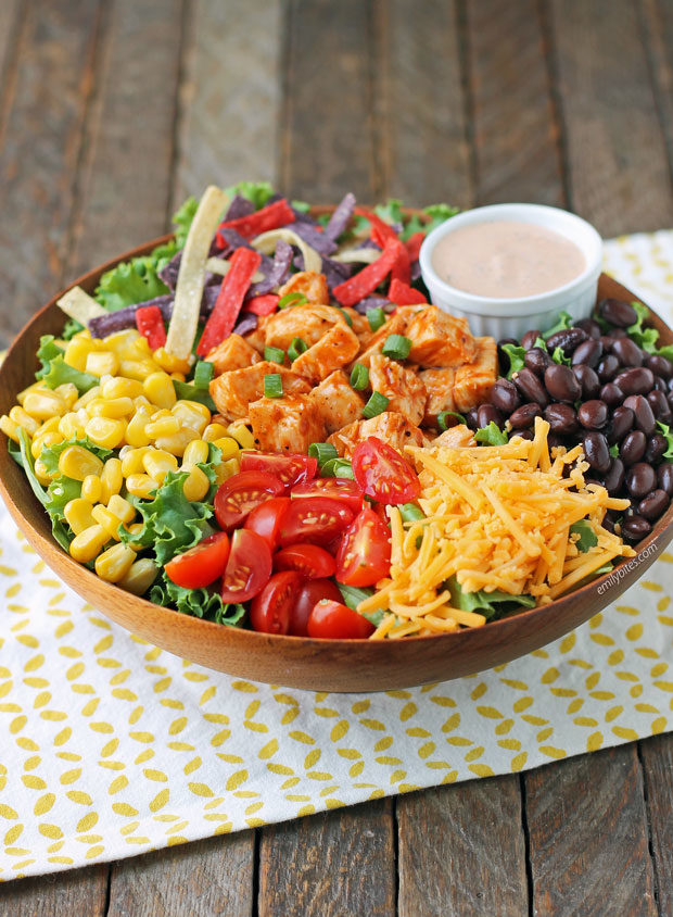 Barbecue Ranch Chicken Salad in a bowl